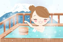 Woman with hot spring Stock Photo