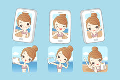 Cartoon woman smile take selfie Stock Photography