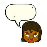 Cartoon woman smiling with speech bubble Royalty Free Stock Image