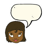 Cartoon woman smiling with speech bubble Stock Photo