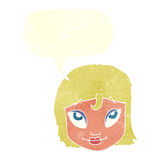 Cartoon woman smiling with speech bubble Stock Photography