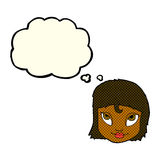 Cartoon woman smiling with thought bubble Royalty Free Stock Photos