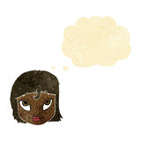 Cartoon woman smiling with thought bubble Royalty Free Stock Image