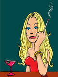 Cartoon woman smoking at the bar. Sexy Cartoon woman smoking at the bar Royalty Free Stock Images