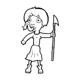 Cartoon woman with spear sticking out tongue Royalty Free Stock Image