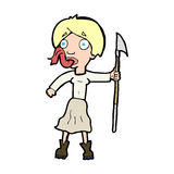 Cartoon woman with spear sticking out tongue Stock Photo