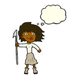Cartoon woman with spear with thought bubble Royalty Free Stock Photos