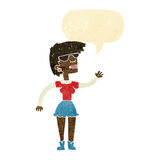 Cartoon woman in spectacles waving with speech bubble Royalty Free Stock Image