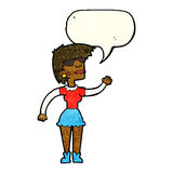 Cartoon woman in spectacles waving with speech bubble Royalty Free Stock Photo