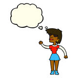 Cartoon woman in spectacles waving with thought bubble Royalty Free Stock Images