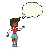 Cartoon woman in spectacles waving with thought bubble Royalty Free Stock Image