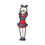 cartoon woman with spooky skull head Royalty Free Stock Image