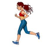 Cartoon woman in sportswear running, side view. Woman in sportswear running, side view Royalty Free Stock Photos