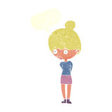 Cartoon woman staring with speech bubble Royalty Free Stock Photo