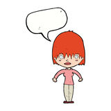 Cartoon woman staring with speech bubble Stock Image