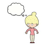 Cartoon woman staring with thought bubble Royalty Free Stock Photo