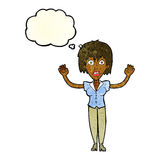 cartoon woman stressing out with thought bubble Royalty Free Stock Photo