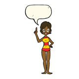 cartoon woman in striped swimsuit with speech bubble Royalty Free Stock Photo