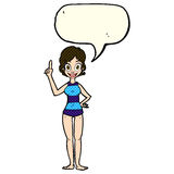 Cartoon woman in striped swimsuit with speech bubble Stock Images