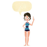 Cartoon woman in striped swimsuit with speech bubble Stock Photography