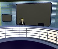 Cartoon woman in suit in tv studio Stock Photo