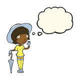 Cartoon woman in summer hat waving with thought bubble Royalty Free Stock Photography