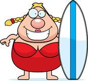 Cartoon Woman Surfboard Royalty Free Stock Photos