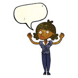 Cartoon woman surrendering with speech bubble Stock Photography