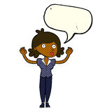 Cartoon woman surrendering with speech bubble Royalty Free Stock Image