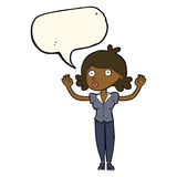 Cartoon woman surrendering with speech bubble Royalty Free Stock Photos