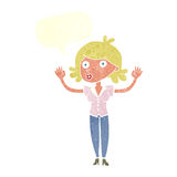 Cartoon woman surrendering with speech bubble Stock Images