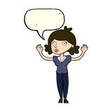 Cartoon woman surrendering with speech bubble Stock Photos