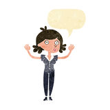 Cartoon woman surrendering with speech bubble Royalty Free Stock Photo
