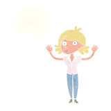 Cartoon woman surrendering with thought bubble Stock Photography
