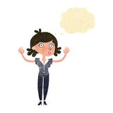 Cartoon woman surrendering with thought bubble Royalty Free Stock Photography