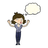 Cartoon woman surrendering with thought bubble Royalty Free Stock Photos