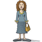 Cartoon woman with a suspicious look Stock Photo