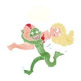 cartoon woman and swamp monster Stock Photos