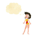 Cartoon woman in swimming costume with thought bubble Royalty Free Stock Image