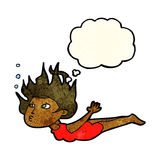 Cartoon woman swimming underwater with thought bubble Royalty Free Stock Photography