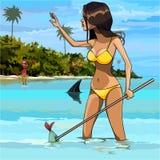 Cartoon woman in swimsuit fishing in the tropics Stock Image