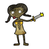 cartoon woman with sword Royalty Free Stock Image