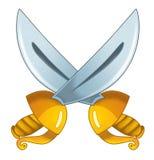 Cartoon woman - swords Royalty Free Stock Photo