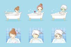 Cartoon woman take a bath Royalty Free Stock Photo
