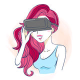 Cartoon woman take vr eyeglasses. Great for your design Stock Photography