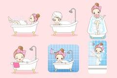 Cartoon woman is taking  bath Royalty Free Stock Image