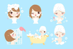 Cartoon woman taking  bath Stock Image