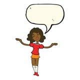 Cartoon woman taking praise with speech bubble Stock Photo