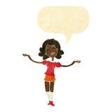Cartoon woman taking praise with speech bubble Stock Photography