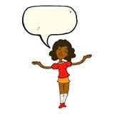 Cartoon woman taking praise with speech bubble Stock Photos